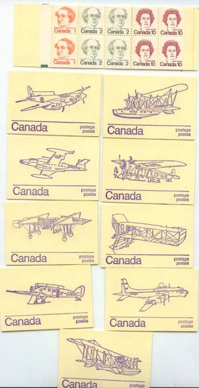 Canada - 1976 50c Caricature Booklets Set of 10 Diff. Airplane Covers #BK76a