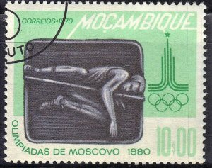 MOZAMBIQUE SC# 628 **USED** 10e 1979  POLE VAULT  SEE SCAN