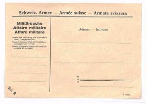 SWITZERLAND MILITARY STATIONERY Envelope Unused BF260