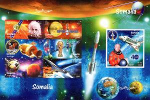 Somalia 1999 Apollo11/Halley's Comet/World Cup/Concorde 2 Shlt.+1SS IMPERFORATED