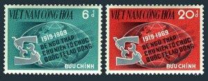 Viet Nam South 362-363,MNH.Michel 439-440. ILO,50th Ann.1969.Globe.