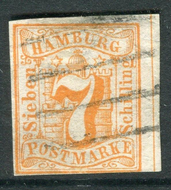 GERMANY  HAMBURG;   1859 classic Imperf issue 7s. used value, hinge thin