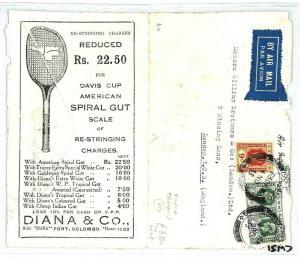 CEYLON Colombo GB Airmail Cover TENNIS {samwells-covers} 1944 WW2 CW51