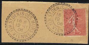 FRANCE - 1906 - CàD Facteur-Boîtier  St DENIS DES MURS / Hte VIENNE  /Yv.129
