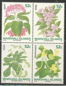 MARSHALL ISLANDS 398B  MNH, BLOCK OF 4, FLOWERS