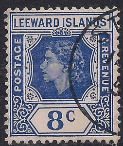 Leeward Islands 1954 QE2 8ct Ultramarine used SG 133 ( A740 )