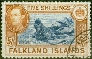 Falkland Islands 1938 5s Indigo & Pale Yellow-Brown SG161b V.F.U