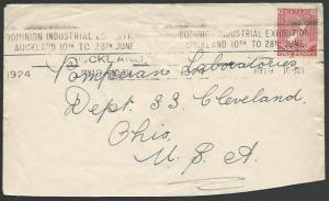 NEW ZEALAND 1924 cover to USA DOMINION INDUSTRIAL EXHIBITION slogan........12343