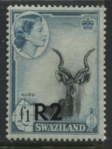 Swaziland  QEII 1961 2R overprint at te bottom unmounted mint NH