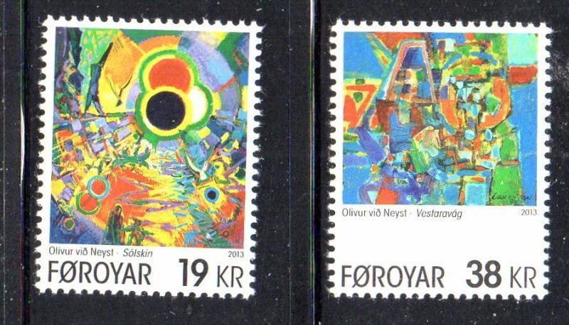 Faroe Islands Sc 607-8 2013 Neyst Paintings stamp set mint NH