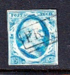 Netherlands #1  5c Blue - First Stamp (USED) cv$35.00