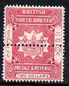 North Borneo 1888 Postage & Revenue Arms $2 perf colour t...