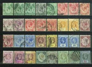 Malaya 1912-23 Straits Settlements KGV 32V 1c-$1 USED Shades & Varieties M2919