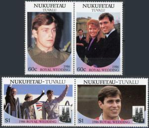 Nukufetau #58-59 Royal Wedding 2 MNH Pairs