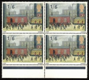 GREAT BRITAIN 1967 1sh6p #516 VF MNH BLOCK OF 4 STAMPS, PAINTING By LOWRY
