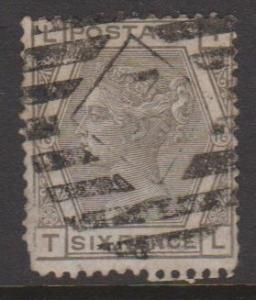 Great Britain QV 6 Pence SG147 Plate 16 Letters TL Used Spacefiller