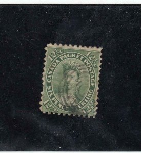 CANADA (MK4236) # 18 FVF-USED 12 1/2cts  QV /1ST CENTS ISSUE /YEL-GREEN CAT $175