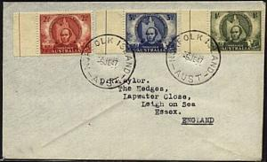 NORFOLK IS 1947 cover - Australia franking to UK......................19486