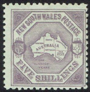 NEW SOUTH WALES 1890 MAP 5/- WMK 5/- NSW IN DIAMOND PERF 10 X 11