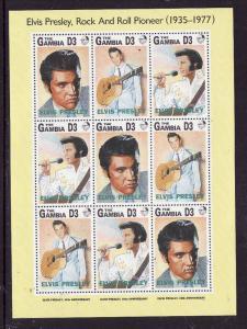Gambia-Sc#1347-Music-Unused NH sheet-Rock & Roll-Elvis Presley-1993-