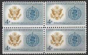 1962 USA 1194 World United Against Malaria MNH block of 4
