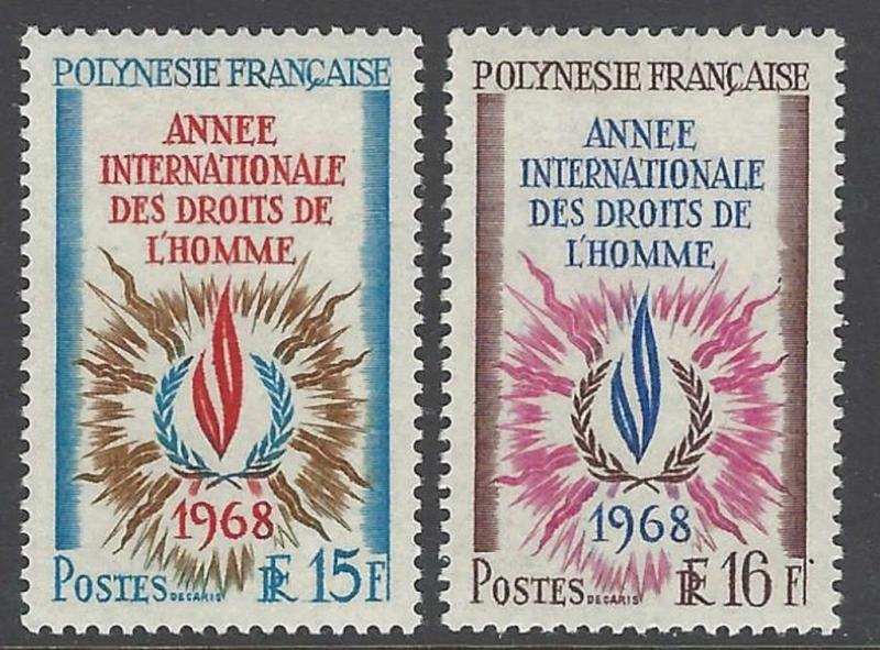 French Polynesia 1968 Human Rights VF MNH (243-4)