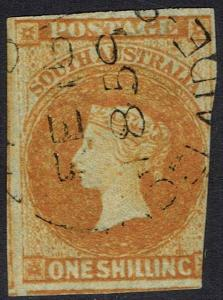 SOUTH AUSTRALIA 1856 QV 1/- IMPERF USED