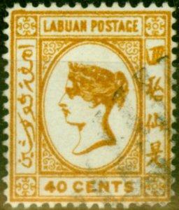 Labuan 1883 40c Amber SG21x Wmk Reversed Fine Used