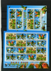 MALAWI 2009 BIRDS PARROTS 2 SHEETS OF 8 & 16 STAMPS MNH