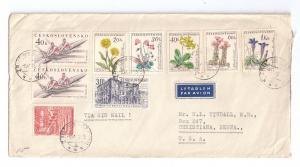 Czechosovakia Cover to US 1961 Stamps Zruc n Saz Label