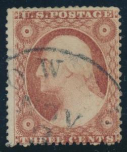 #26A 3c 1857 F-VF USED CV $140 AU696