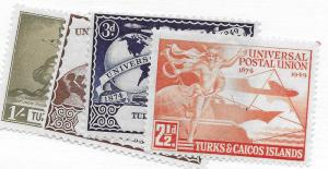 TURKS AND CAICOS 101-104 MINT HING COMMON DESIGN