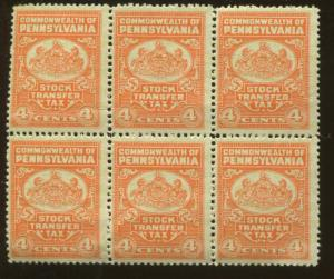 Block of 6 Commonwealth of Pennsylvania Stock Transfer Tax 4 Cent Stamps