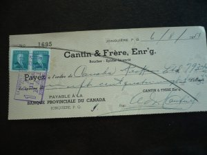 Canada - Revenue - KGVI Prime Minister Issue Stamps on cheque dated 1951