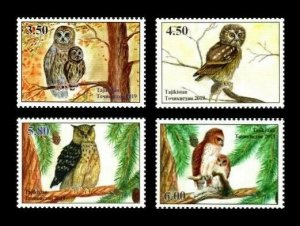 Tajikistan 2019 owls birds of prey set of 4v MNH