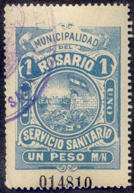 Rosario Argentina 1904 1P Hooker Tax Stamp remainder w/ control# & cancel