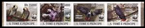Sao Tome Birds WWF Grey Parrot Strip of 4 imperforated stamps