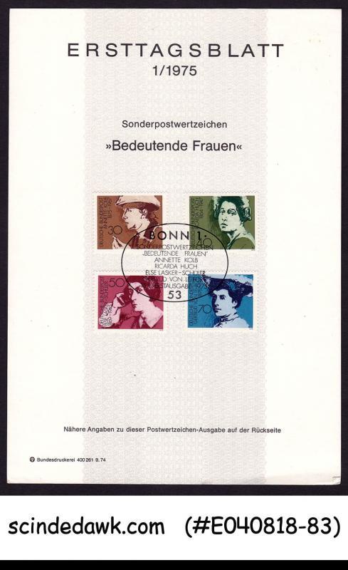 GERMANY - 1975 FAMOUS GERMAN WOMEN WRITERS - FOLDER - FDI