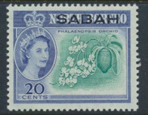 SABAH Opt on North Borneo  SG 414  SC# 7 MVLH   Butterfly Orchid  see scans /...