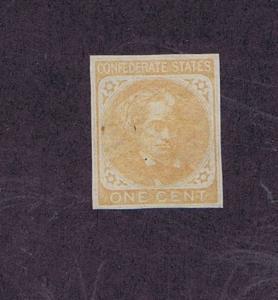 SCOTT #CSA14 P5, 1862, 1c UNUSED SINGLE FROM PLATE PROOF, NGAI,PF CERT