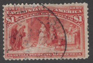 US Stamps #241 Used $1 Columbian 1893 Isabella Pledging her Jewels 241514