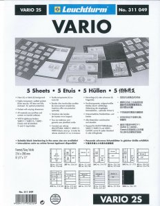 Lighthouse VARIO Stock Sheet Double Sided 2 Pocket Protector Pages Size: 2S
