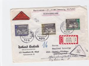 frankfurt 1963 multi berlin registered stamps cover  ref r14734