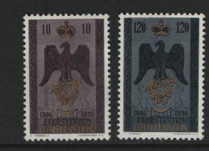 LIECHTENSTEIN 301-302 Hinged, 1956 150th anniversary of Independence