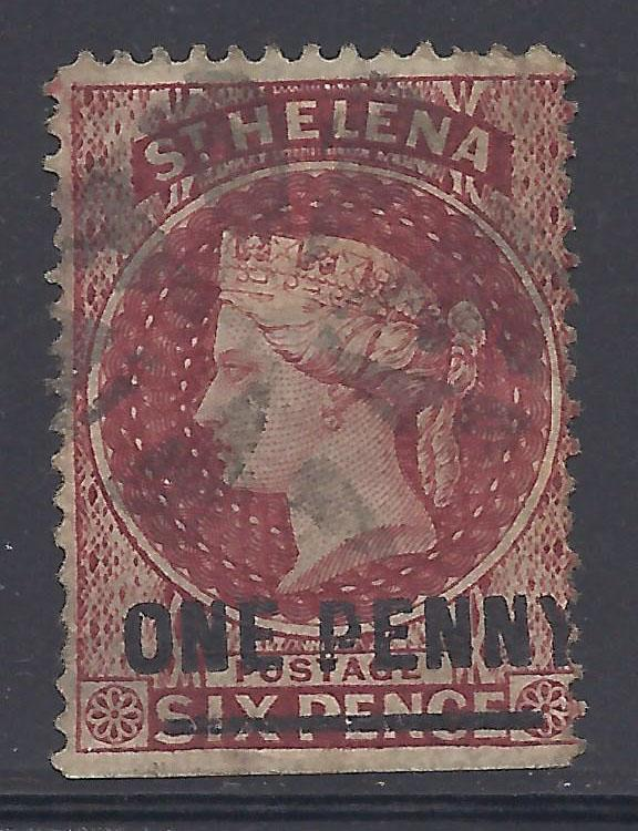 St. Helena # 29 Used - 1883 1p on 6p Queen Victoria