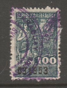Paraguay revenue stamp Fiscal - 5-24-20 -- 100 peso