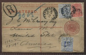 New South Wales May 22nd 1900 3d registered envelope to Tacoma WA USA