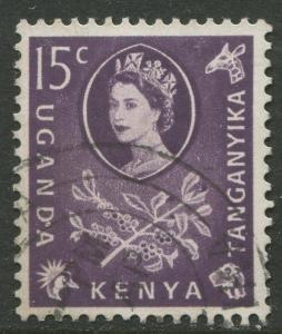 Kenya & Uganda - Scott 122 - QEII Definitive -1960 - Used - Single 15c Stamp