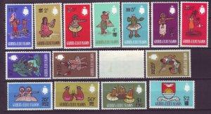 J22107 Jlstamps 1966 gilbert & ellice set mh #110-24 ovpt,s, 119 corner crease