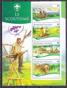 Togo, 2015 issue. Scout Activities sheet of 4. ^